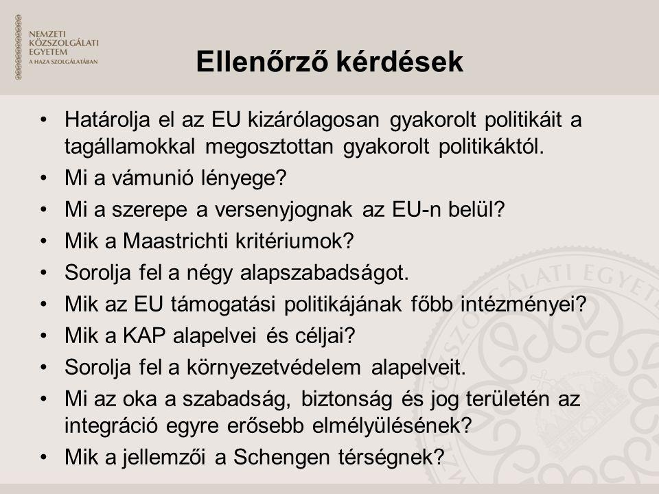 Ellenőrző kérdések Határolja el az EU kizárólagosan gyakorolt politikáit a tagállamokkal megosztottan gyakorolt politikáktól. Mi a vámunió lényege? Mi