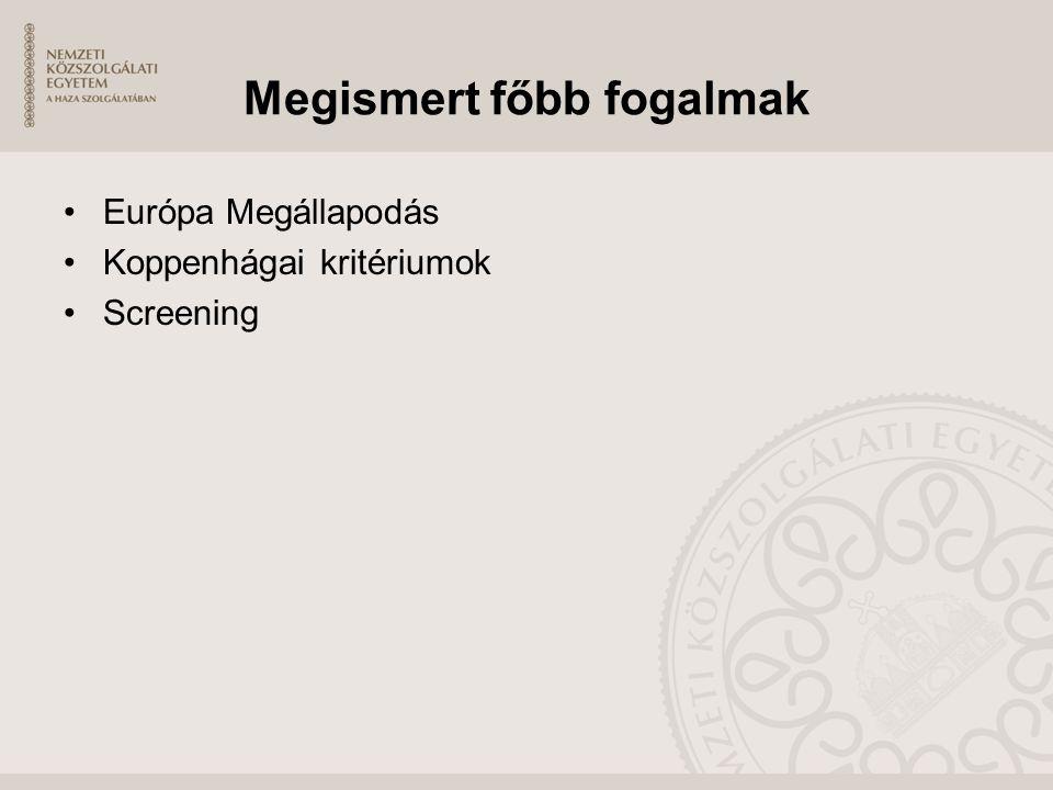 Megismert főbb fogalmak Európa Megállapodás Koppenhágai kritériumok Screening