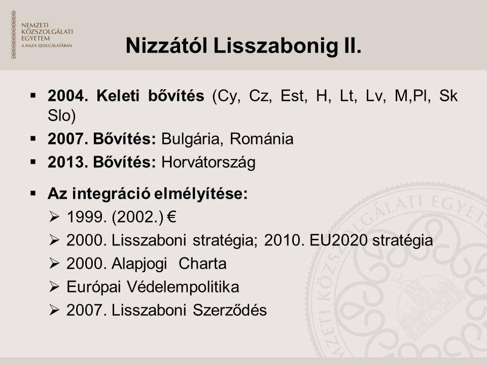 Nizzától Lisszabonig II.  2004. Keleti bővítés (Cy, Cz, Est, H, Lt, Lv, M,Pl, Sk Slo)  2007. Bővítés: Bulgária, Románia  2013. Bővítés: Horvátorszá