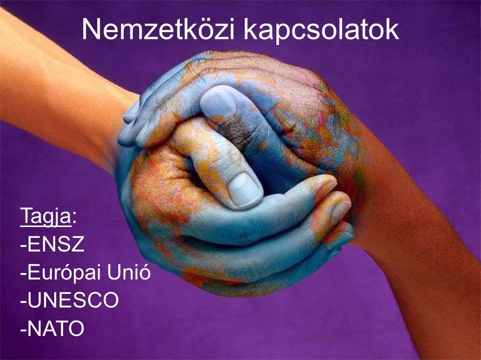 Nemzetközi kapcsolatok Tagja: -ENSZ -Európai Unió -UNESCO -NATO
