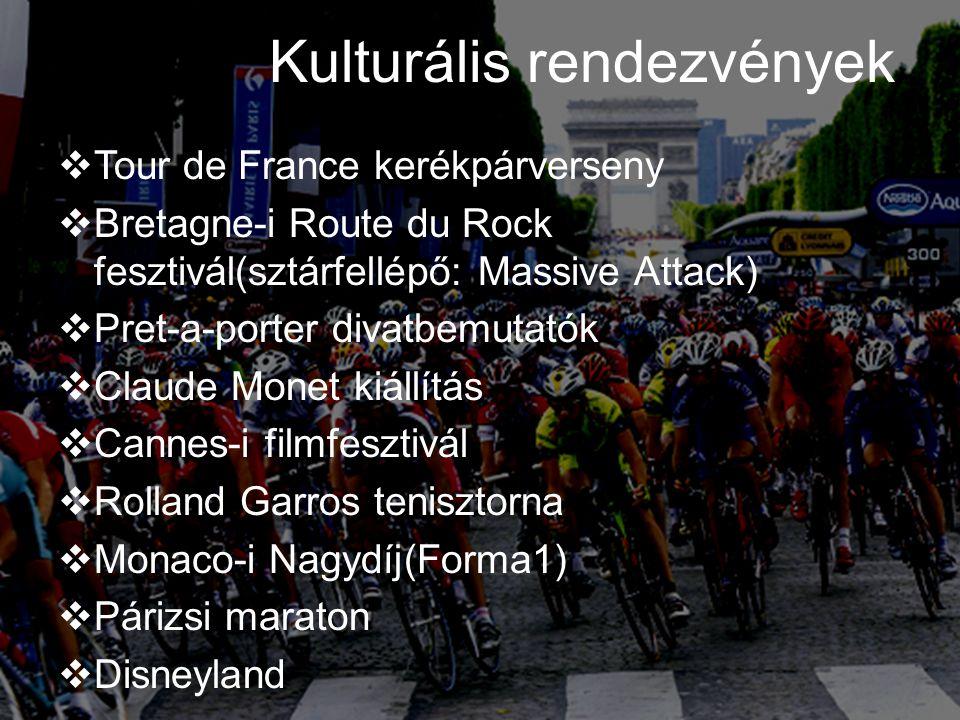 Kulturális rendezvények  Tour de France kerékpárverseny  Bretagne-i Route du Rock fesztivál(sztárfellépő: Massive Attack)  Pret-a-porter divatbemut