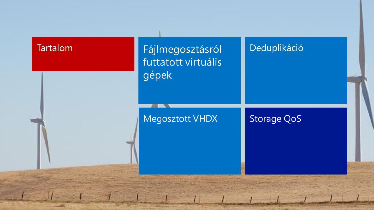 Deduplikáció Megosztott VHDXStorage QoS Tartalom