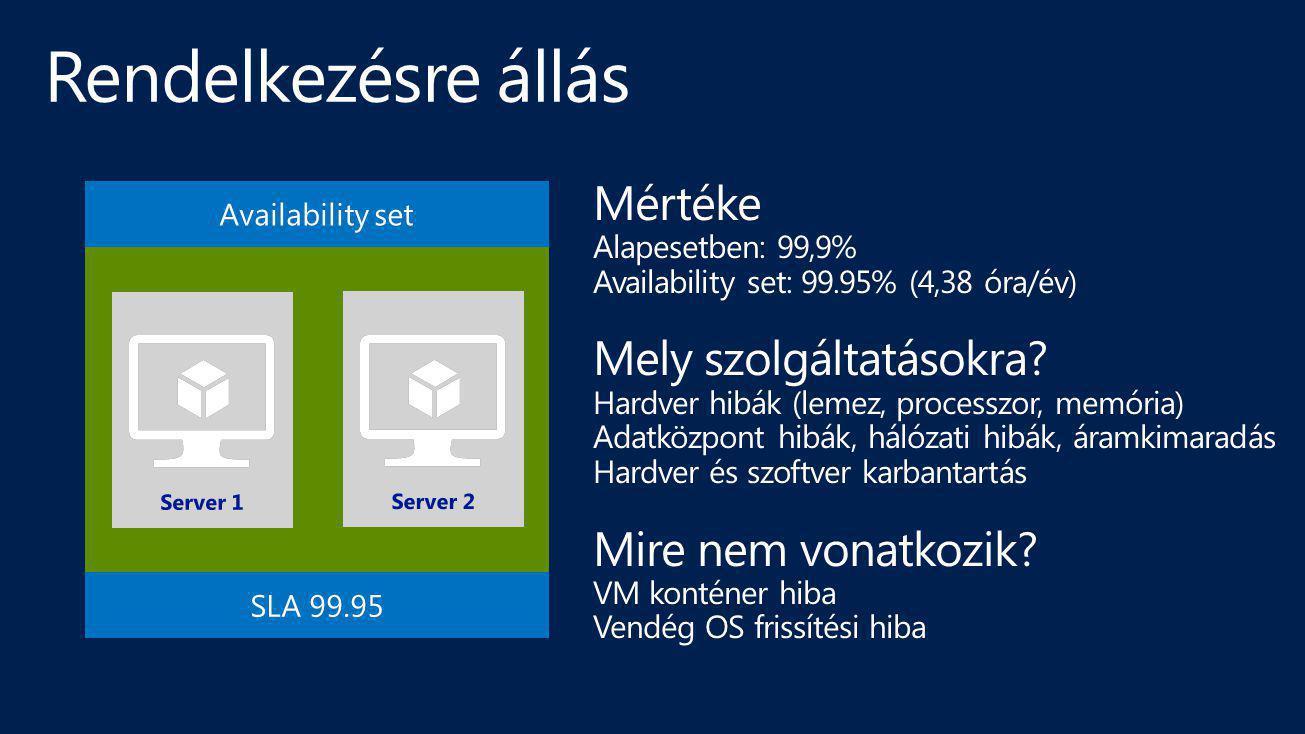Mértéke Alapesetben: 99,9% Availability set: 99.95% (4,38 óra/év) Mely szolgáltatásokra? Hardver hibák (lemez, processzor, memória) Adatközpont hibák,