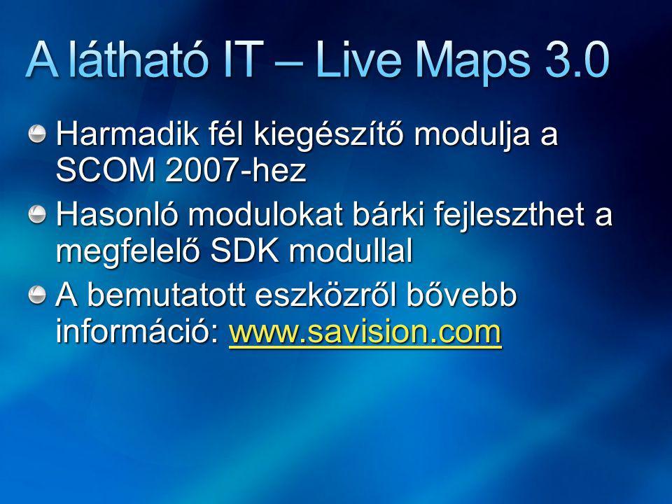 Harmadik fél kiegészítő modulja a SCOM 2007-hez Hasonló modulokat bárki fejleszthet a megfelelő SDK modullal A bemutatott eszközről bővebb információ: www.savision.com www.savision.com