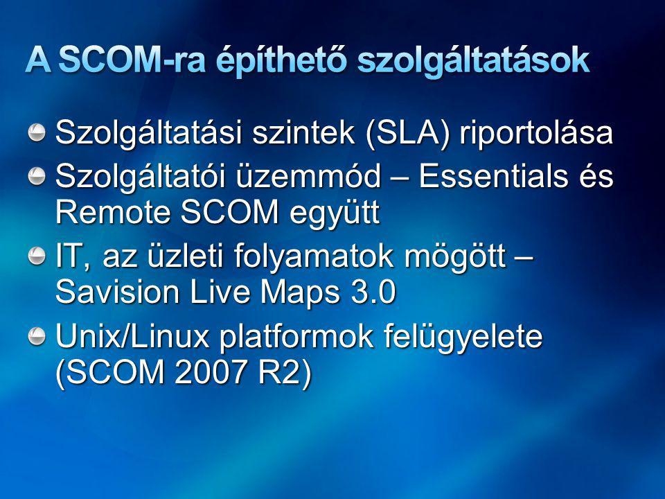 Szolgáltatási szintek (SLA) riportolása Szolgáltatói üzemmód – Essentials és Remote SCOM együtt IT, az üzleti folyamatok mögött – Savision Live Maps 3.0 Unix/Linux platformok felügyelete (SCOM 2007 R2)