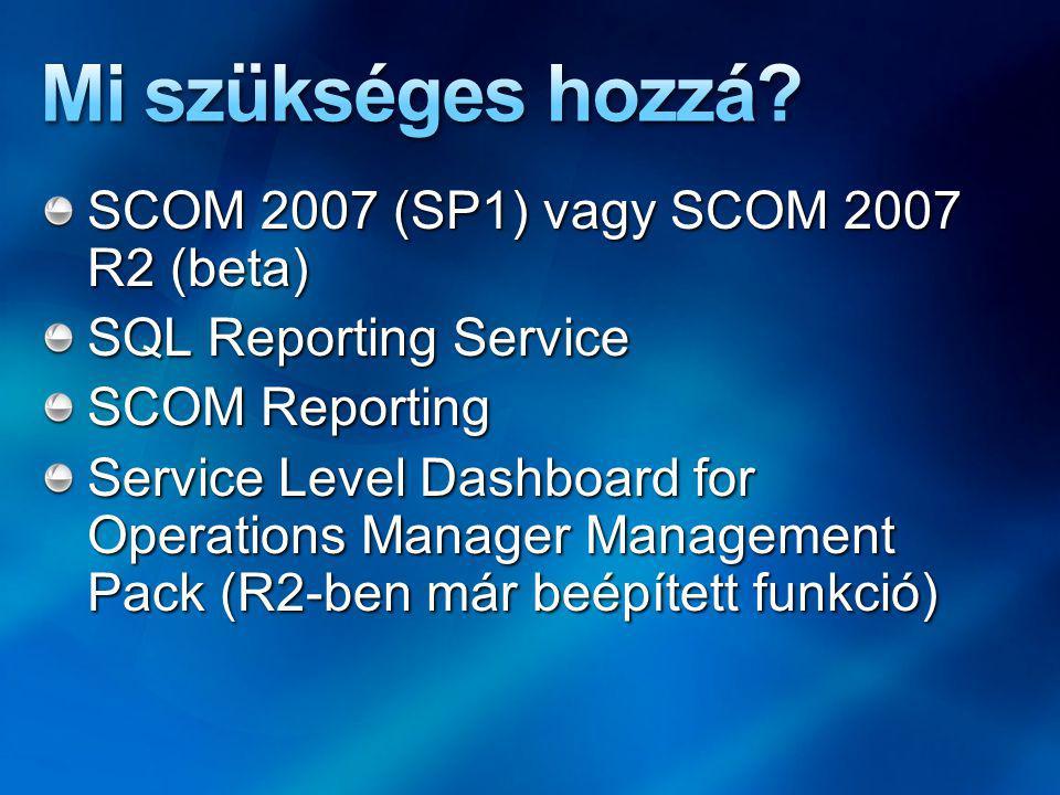 SQL és Reporting Services SCOM 2007 és Reporting telepítése Service Level Dashboard for Operations Manager Management Pack.msi telepítése – ez telepíti a különleges riport formátumokat* Megfelelő jogosultságú fiókkal telepítsünk.