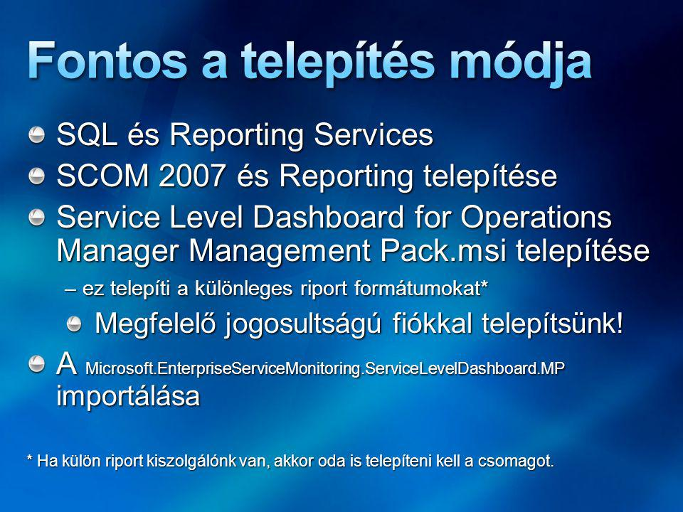 SQL és Reporting Services SCOM 2007 és Reporting telepítése Service Level Dashboard for Operations Manager Management Pack.msi telepítése – ez telepíti a különleges riport formátumokat* Megfelelő jogosultságú fiókkal telepítsünk.