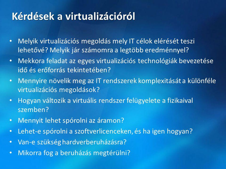 Kérdések a virtualizációról Melyik virtualizációs megoldás mely IT célok elérését teszi lehetővé.