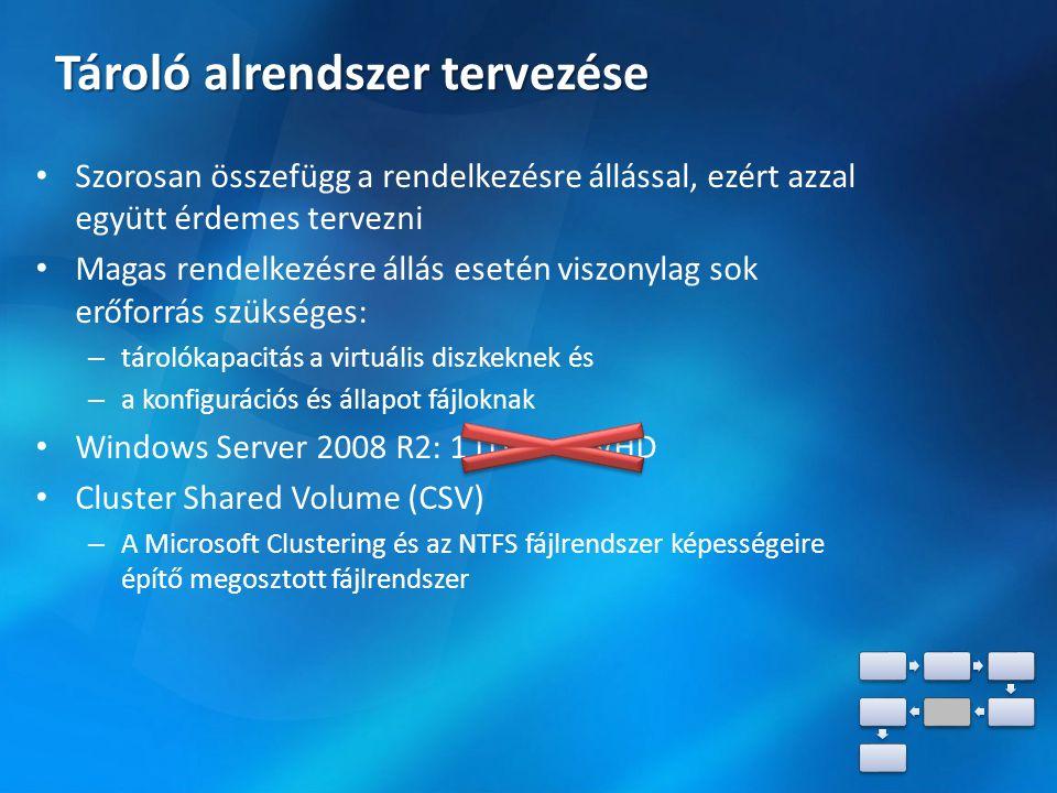 Tároló alrendszer tervezése Szorosan összefügg a rendelkezésre állással, ezért azzal együtt érdemes tervezni Magas rendelkezésre állás esetén viszonylag sok erőforrás szükséges: – tárolókapacitás a virtuális diszkeknek és – a konfigurációs és állapot fájloknak Windows Server 2008 R2: 1 LUN = 1 VHD Cluster Shared Volume (CSV) – A Microsoft Clustering és az NTFS fájlrendszer képességeire építő megosztott fájlrendszer