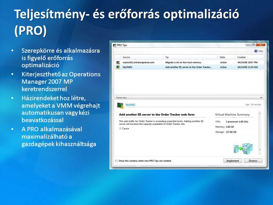 Teljesítmény- és erőforrás optimalizáció (PRO) Szerepkörre és alkalmazásra is figyelő erőforrás optimalizáció Kiterjeszthető az Operations Manager 2007 MP keretrendszerrel Házirendeket hoz létre, amelyeket a VMM végrehajt automatikusan vagy kézi beavatkozással A PRO alkalmazásával maximalizálható a gazdagépek kihasználtsága