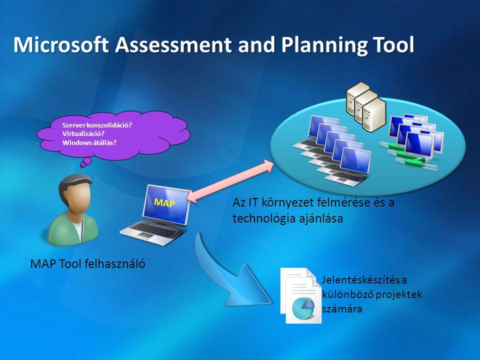 Microsoft Assessment and Planning Tool Jelentéskészítés a különböző projektek számára MAP Az IT környezet felmérése és a technológia ajánlása MAP Tool felhasználó Szerver konszolidáció.