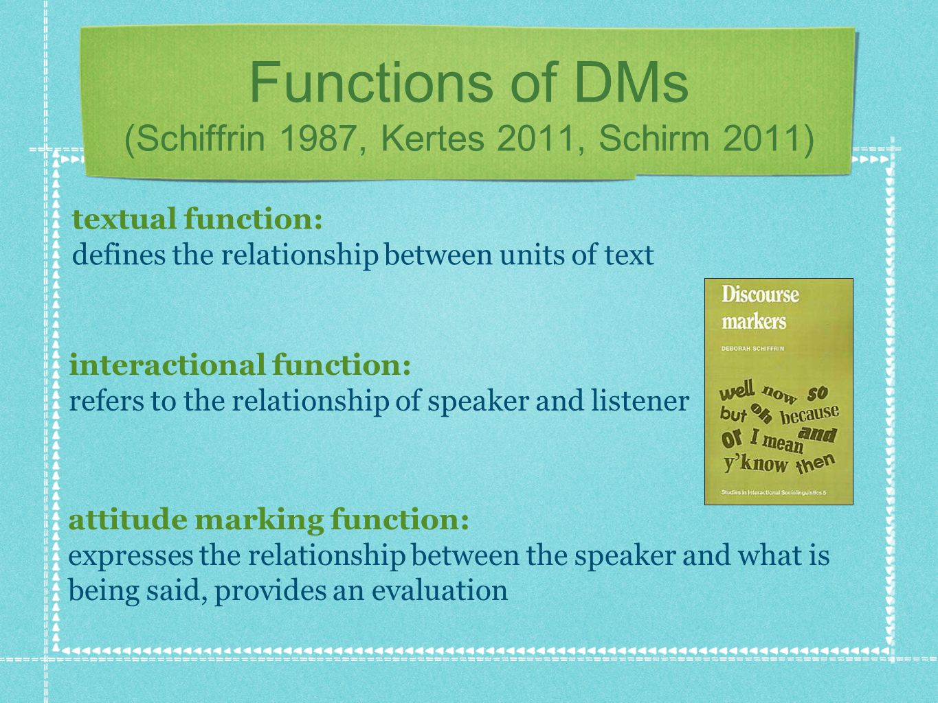 Functions of DMs (Schiffrin 1987, Kertes 2011, Schirm 2011) textual function: defines the relationship between units of text interactional function: r