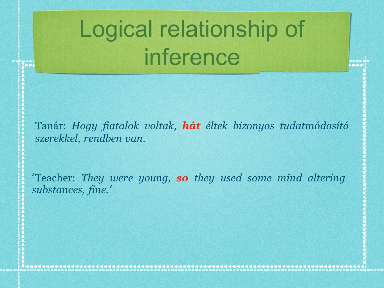 Logical relationship of inference Tanár: Hogy fiatalok voltak, hát éltek bizonyos tudatmódosító szerekkel, rendben van.