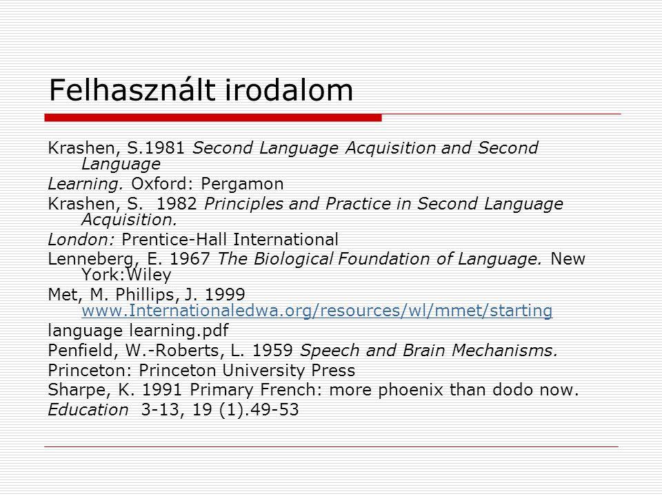Felhasznált irodalom Krashen, S.1981 Second Language Acquisition and Second Language Learning. Oxford: Pergamon Krashen, S. 1982 Principles and Practi