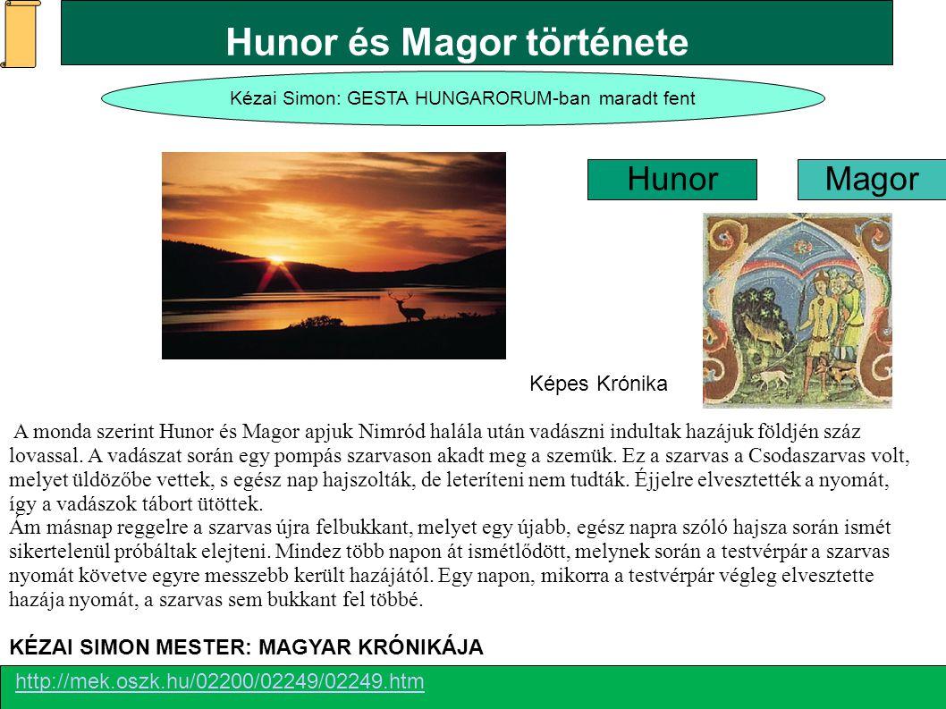 Kézai Simon: GESTA HUNGARORUM-ban maradt fent Hunor Magor http://mek.oszk.hu/02200/02249/02249.htm KÉZAI SIMON MESTER: MAGYAR KRÓNIKÁJA Képes Krónika