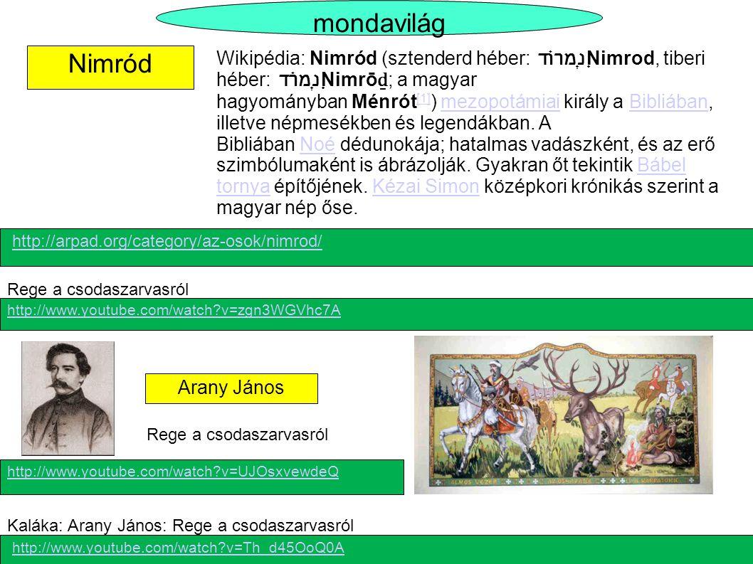 Nimród mondavilág Arany János Wikipédia: Nimród (sztenderd héber: נִמְרוֹד Nimrod, tiberi héber: נִמְרֹד Nimrō ḏ ; a magyar hagyományban Ménrót [1] )