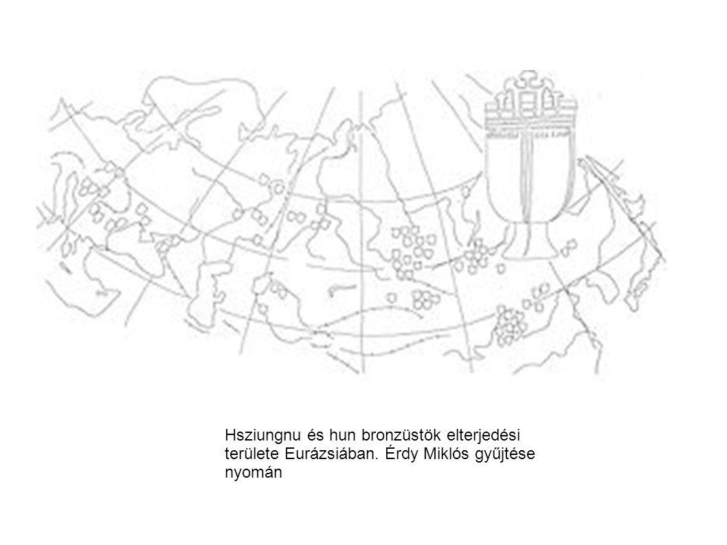 Hsziungnu és hun bronzüstök elterjedési területe Eurázsiában. Érdy Miklós gyűjtése nyomán