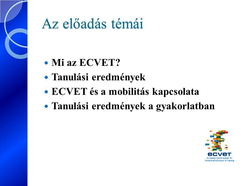 Az előadás témái Mi az ECVET? Tanulási eredmények ECVET és a mobilitás kapcsolata Tanulási eredmények a gyakorlatban