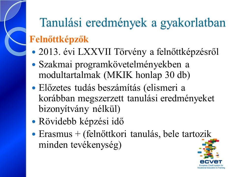 Tanulási eredmények a gyakorlatban Felnőttképzők 2013. évi LXXVII Törvény a felnőttképzésről Szakmai programkövetelményekben a modultartalmak (MKIK ho