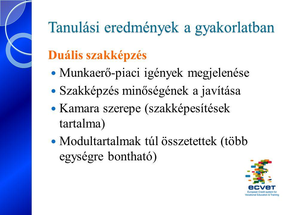 Tanulási eredmények a gyakorlatban Duális szakképzés Munkaerő-piaci igények megjelenése Szakképzés minőségének a javítása Kamara szerepe (szakképesíté