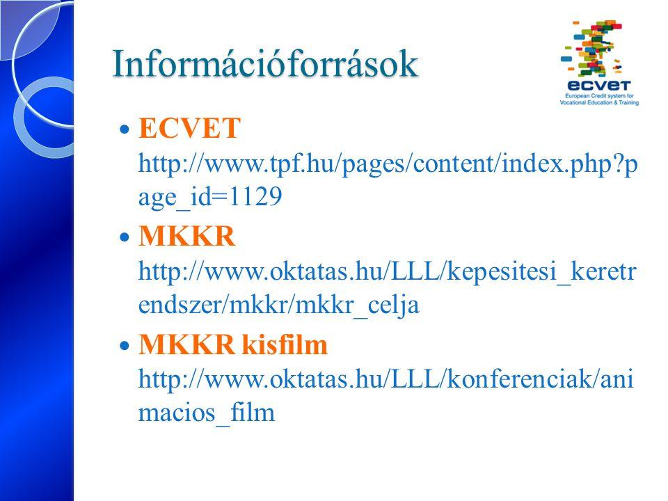 Információforrások ECVET http://www.tpf.hu/pages/content/index.php?p age_id=1129 MKKR http://www.oktatas.hu/LLL/kepesitesi_keretr endszer/mkkr/mkkr_ce