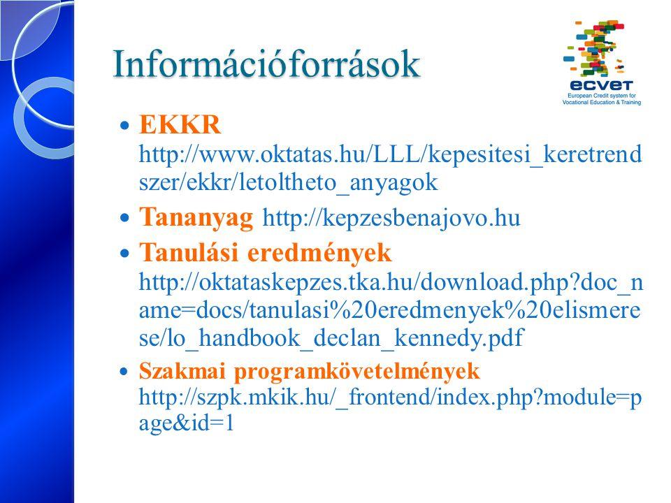 Információforrások EKKR http://www.oktatas.hu/LLL/kepesitesi_keretrend szer/ekkr/letoltheto_anyagok Tananyag http://kepzesbenajovo.hu Tanulási eredmén