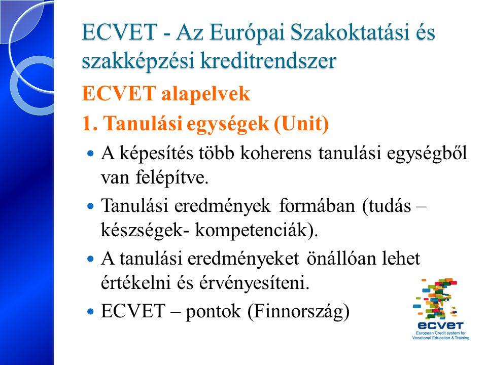 ECVET - Az Európai Szakoktatási és szakképzési kreditrendszer ECVET alapelvek 1. Tanulási egységek (Unit) A képesítés több koherens tanulási egységből