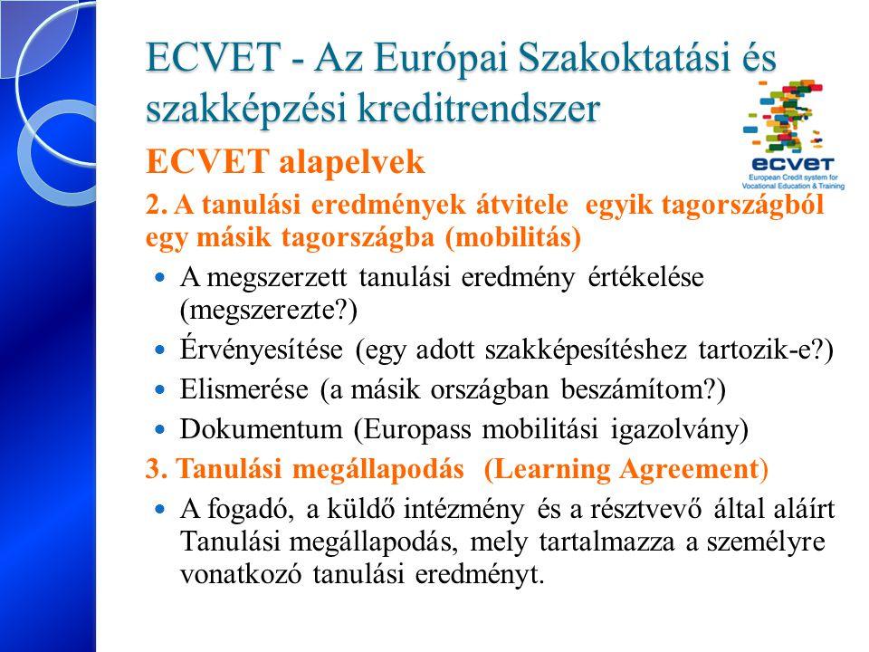 ECVET - Az Európai Szakoktatási és szakképzési kreditrendszer ECVET alapelvek 2. A tanulási eredmények átvitele egyik tagországból egy másik tagország