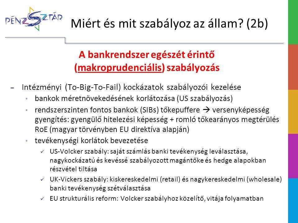 A bankrendszer egészét érintő (makroprudenciális) szabályozás ‒ Intézményi (To-Big-To-Fail) kockázatok szabályozói kezelése bankok méretnövekedésének