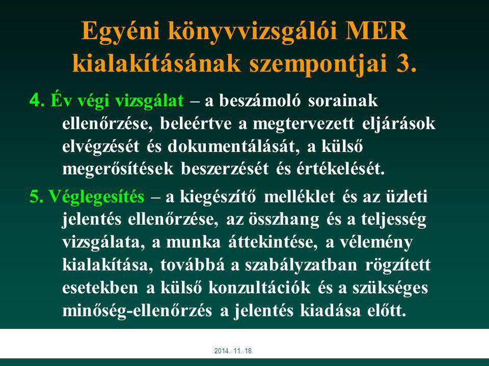 2014.11. 18. Egyéni könyvvizsgálói MER kialakításának szempontjai 3.