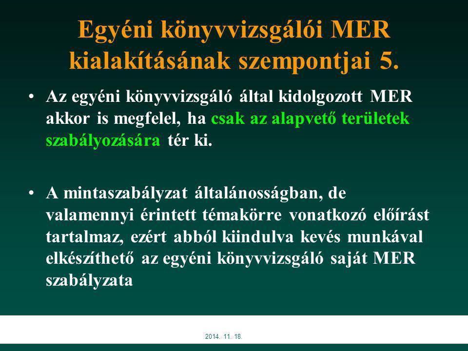2014.11. 18. Egyéni könyvvizsgálói MER kialakításának szempontjai 5.