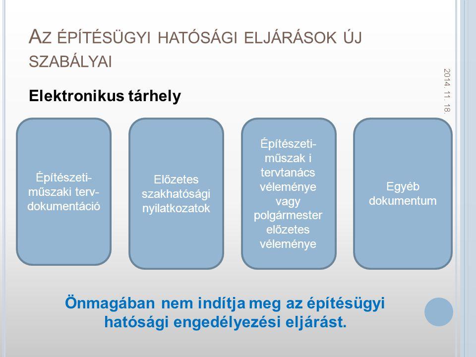 A Z ÉPÍTÉSÜGYI HATÓSÁGI ELJÁRÁSOK ÚJ SZABÁLYAI Elektronikus tárhely Önmagában nem indítja meg az építésügyi hatósági engedélyezési eljárást.