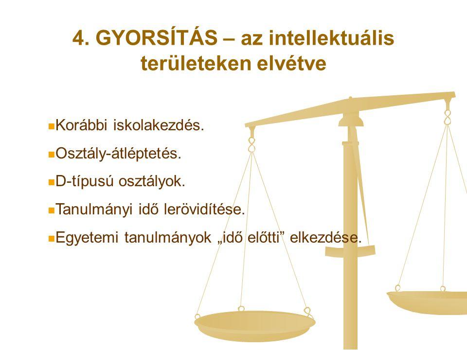 4. GYORSÍTÁS – az intellektuális területeken elvétve Korábbi iskolakezdés. Osztály-átléptetés. D-típusú osztályok. Tanulmányi idő lerövidítése. Egyete