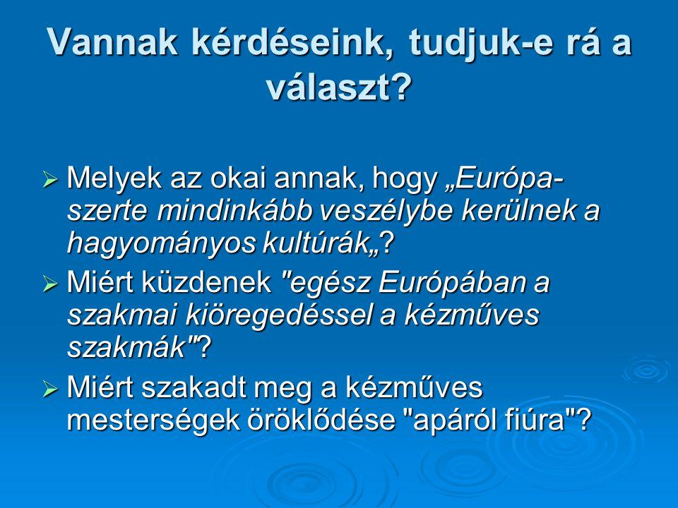"""Vannak kérdéseink, tudjuk-e rá a választ?  Melyek az okai annak, hogy """"Európa- szerte mindinkább veszélybe kerülnek a hagyományos kultúrák""""?  Miért"""