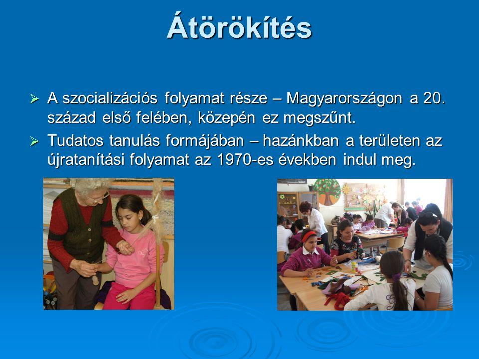 Átörökítés  A szocializációs folyamat része – Magyarországon a 20. század első felében, közepén ez megszűnt.  Tudatos tanulás formájában – hazánkban