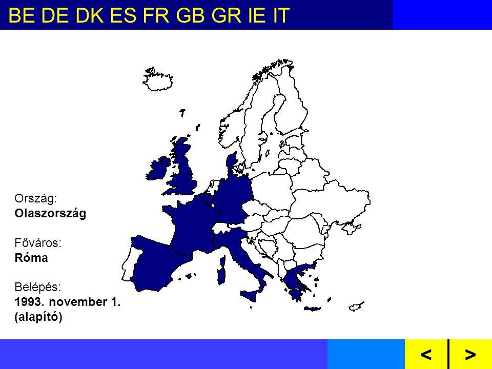 BE DE DK ES FR GB GR IE IT NL LU PTAT FI SE CZ CY EE HU LV LT MT PL SI SKBG RO<> Ország: Olaszország Főváros: Róma Belépés: 1993.