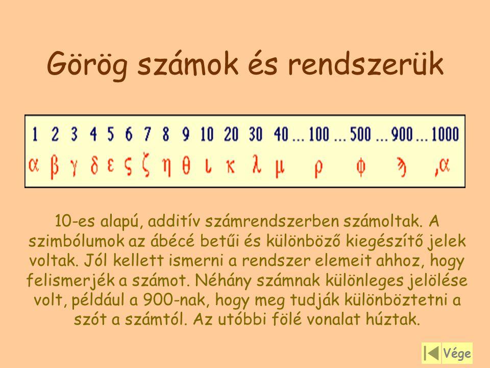 Görög számok és rendszerük 10-es alapú, additív számrendszerben számoltak. A szimbólumok az ábécé betűi és különböző kiegészítő jelek voltak. Jól kell