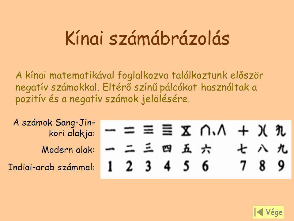 Kínai számábrázolás A számok Sang-Jin- kori alakja: Modern alak: Indiai-arab számmal: A kínai matematikával foglalkozva találkoztunk először negatív s
