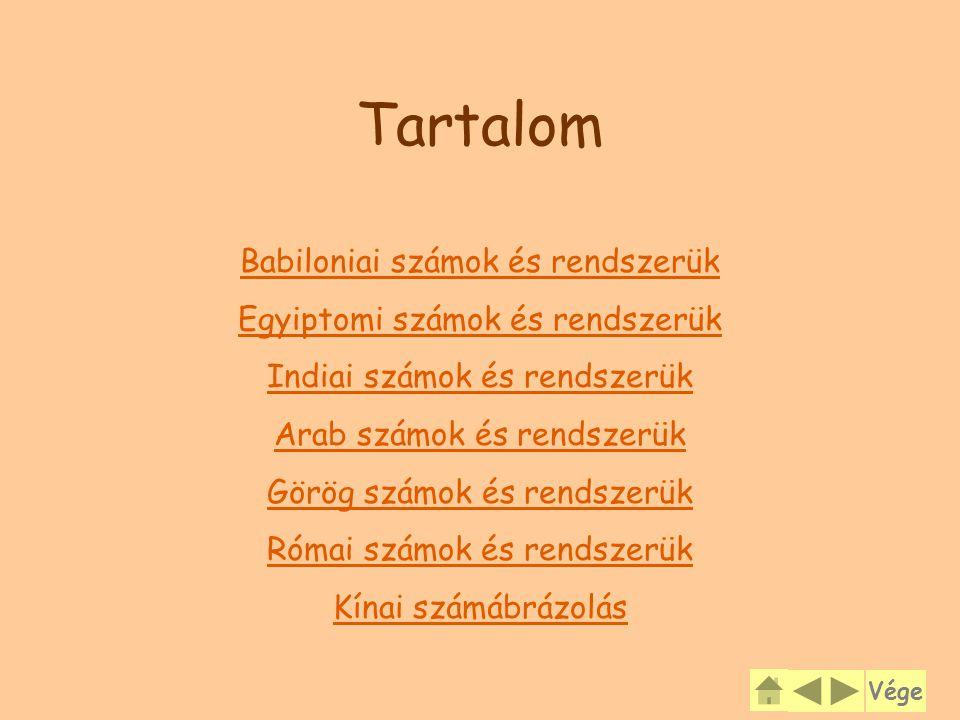 Tartalom Babiloniai számok és rendszerük Egyiptomi számok és rendszerük Indiai számok és rendszerük Arab számok és rendszerük Görög számok és rendszerük Római számok és rendszerük Kínai számábrázolás Vége