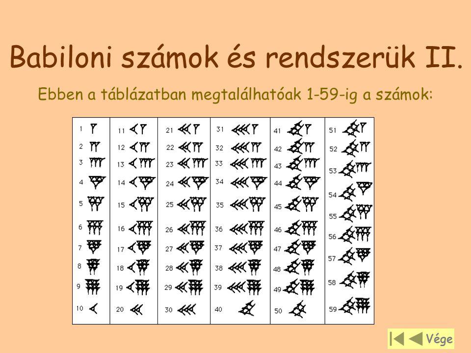 Babiloni számok és rendszerük II. Ebben a táblázatban megtalálhatóak 1-59-ig a számok: Vége