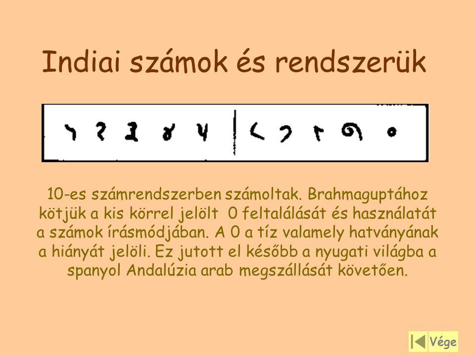 Indiai számok és rendszerük 10-es számrendszerben számoltak. Brahmaguptához kötjük a kis körrel jelölt 0 feltalálását és használatát a számok írásmódj