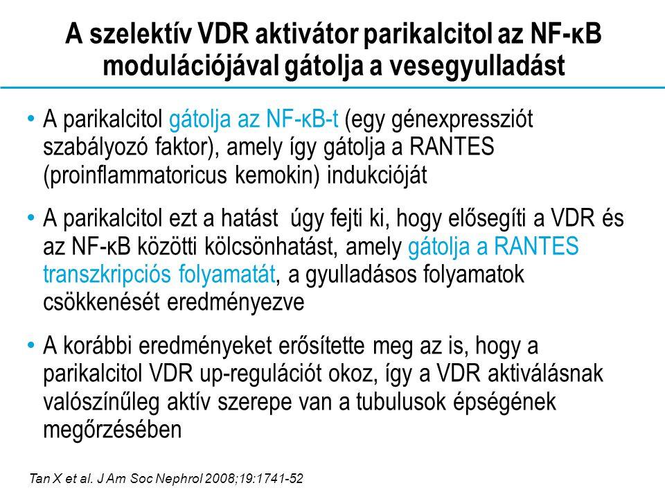 A szelektív VDR aktivátor parikalcitol az NF-ĸB modulációjával gátolja a vesegyulladást A parikalcitol gátolja az NF-κB-t (egy génexpressziót szabályozó faktor), amely így gátolja a RANTES (proinflammatoricus kemokin) indukcióját A parikalcitol ezt a hatást úgy fejti ki, hogy elősegíti a VDR és az NF-κB közötti kölcsönhatást, amely gátolja a RANTES transzkripciós folyamatát, a gyulladásos folyamatok csökkenését eredményezve A korábbi eredményeket erősítette meg az is, hogy a parikalcitol VDR up-regulációt okoz, így a VDR aktiválásnak valószínűleg aktív szerepe van a tubulusok épségének megőrzésében Tan X et al.