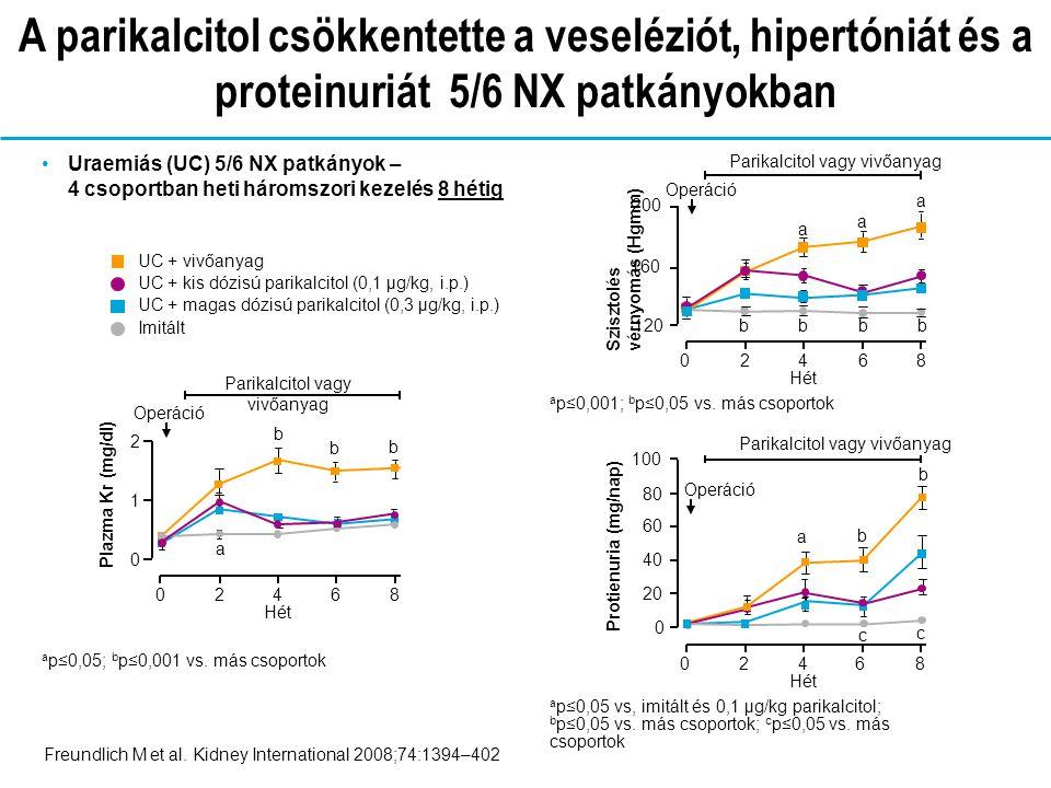 Parikalcitol vagy vivőanyag Uraemiás (UC) 5/6 NX patkányok – 4 csoportban heti háromszori kezelés 8 hétig Freundlich M et al.