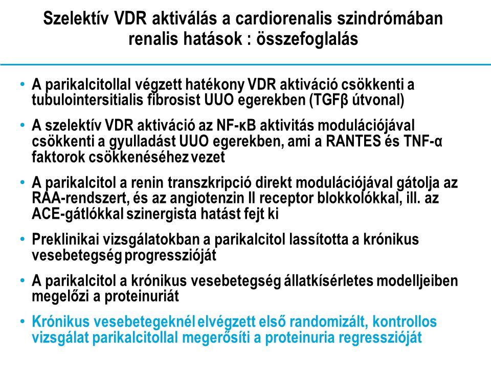 Szelektív VDR aktiválás a cardiorenalis szindrómában renalis hatások : összefoglalás A parikalcitollal végzett hatékony VDR aktiváció csökkenti a tubulointersitialis fibrosist UUO egerekben (TGFβ útvonal) A szelektív VDR aktiváció az NF-ĸB aktivitás modulációjával csökkenti a gyulladást UUO egerekben, ami a RANTES és TNF-α faktorok csökkenéséhez vezet A parikalcitol a renin transzkripció direkt modulációjával gátolja az RAA-rendszert, és az angiotenzin II receptor blokkolókkal, ill.