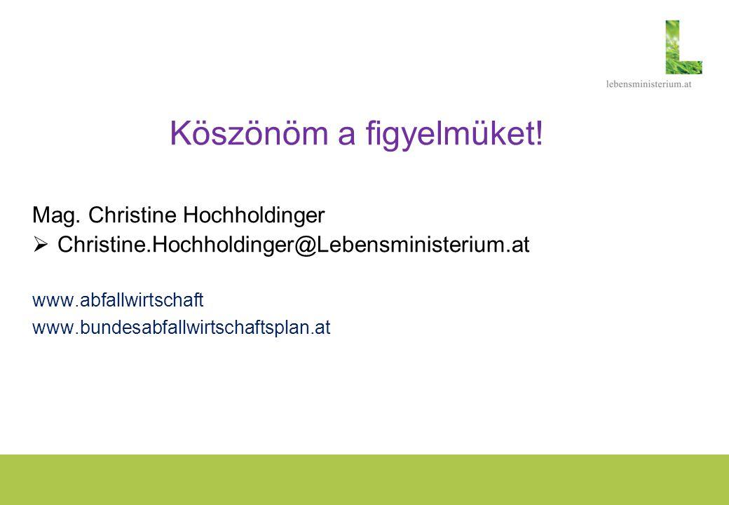 Köszönöm a figyelmüket! Mag. Christine Hochholdinger  Christine.Hochholdinger@Lebensministerium.at www.abfallwirtschaft www.bundesabfallwirtschaftspl