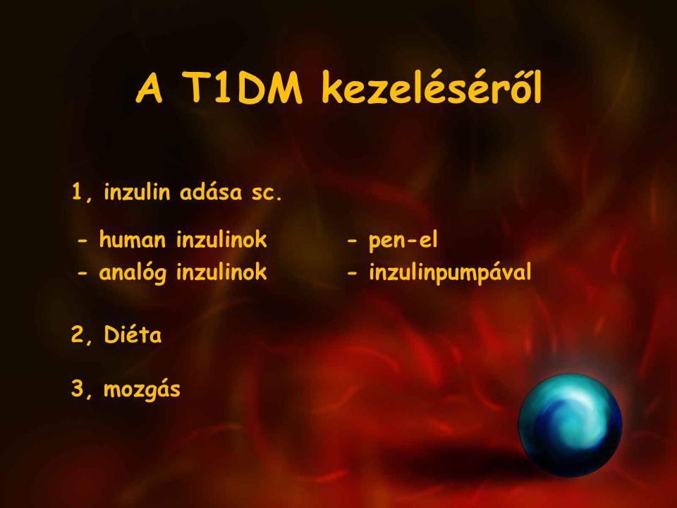 A T1DM kezeléséről 1, inzulin adása sc. - human inzulinok - analóg inzulinok - pen-el - inzulinpumpával 2, Diéta 3, mozgás