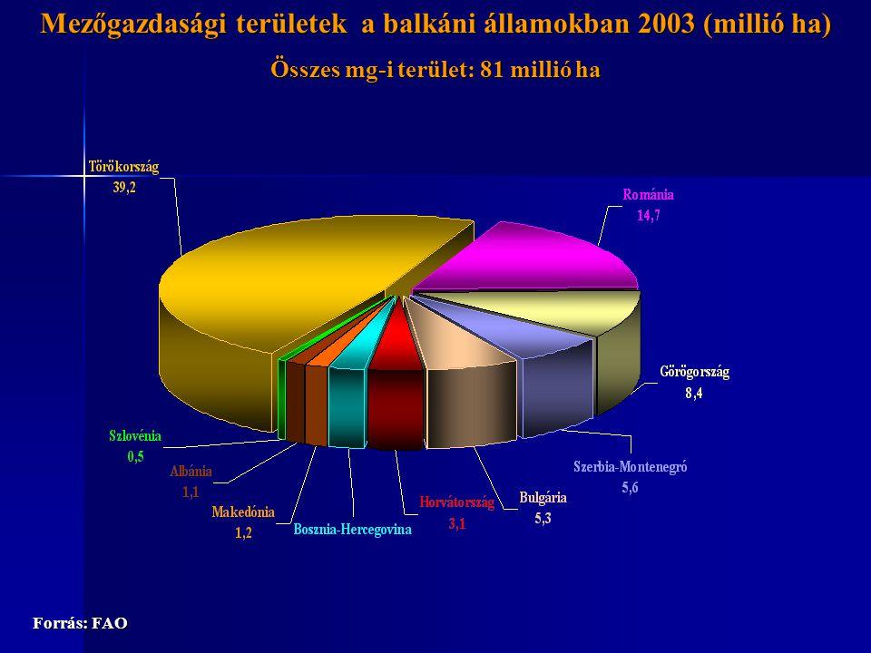 Juh és kecskehús külkereskedelme a 2002-2004-es évek átlagában (tonna) Forrás: FAO