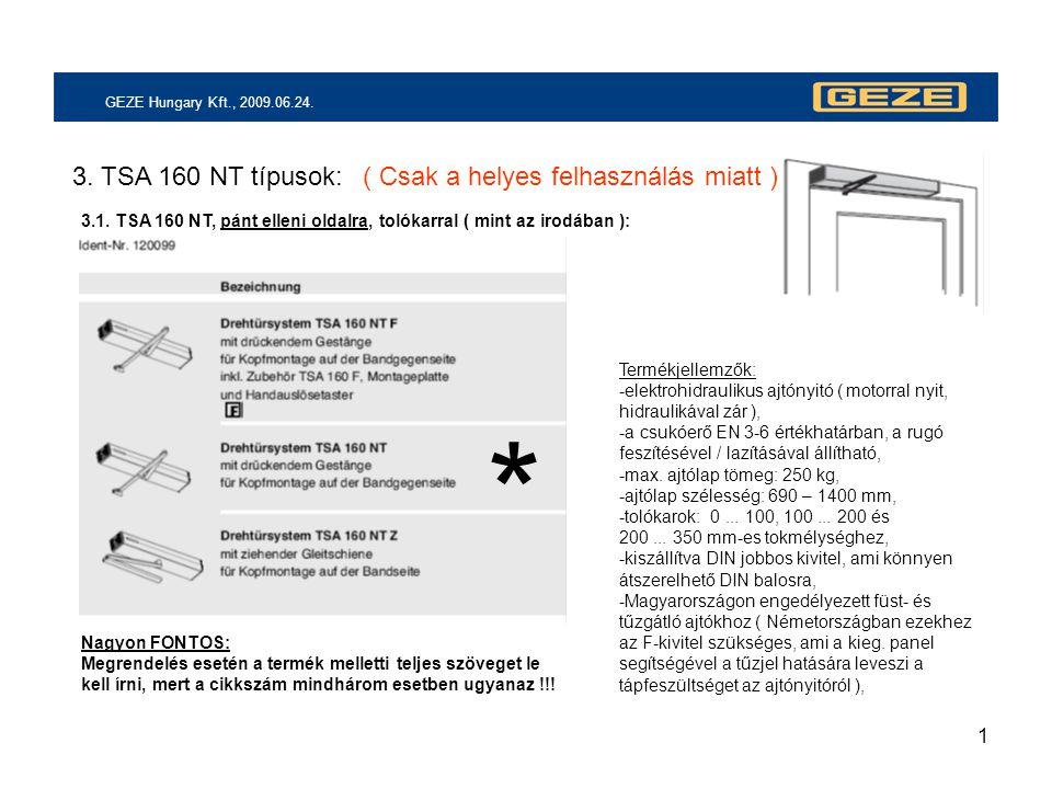 1 GEZE Hungary Kft., 2009.06.24. 3. TSA 160 NT típusok: 3.1. TSA 160 NT, pánt elleni oldalra, tolókarral ( mint az irodában ): * Termékjellemzők: -ele