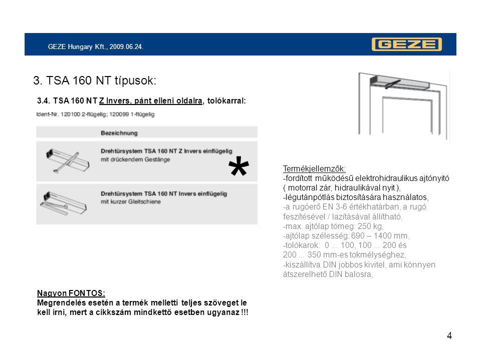 4 GEZE Hungary Kft., 2009.06.24. 3. TSA 160 NT típusok: 3.4. TSA 160 NT Z Invers, pánt elleni oldalra, tolókarral: Termékjellemzők: -fordított működés