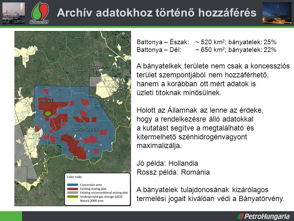 Archív adatokhoz történő hozzáférés Battonya – Észak:~ 520 km 2 ; bányatelek: 25% Battonya – Dél:~ 650 km 2 ; bányatelek: 22% A bányatelkek területe nem csak a koncessziós terület szempontjából nem hozzáférhető, hanem a korábban ott mért adatok is üzleti titoknak minősülnek.